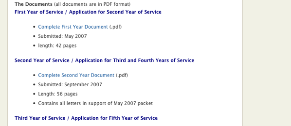 Screenshot that shows links to various recontracting, tenure, and promotion documents I have uploaded.