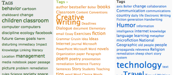 Screen shot of three tag clouds, each one from different student blogs.
